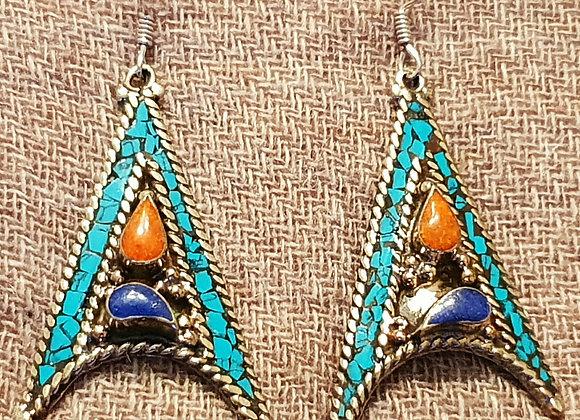 Angular Tibetan Earrings (Silver Plated)