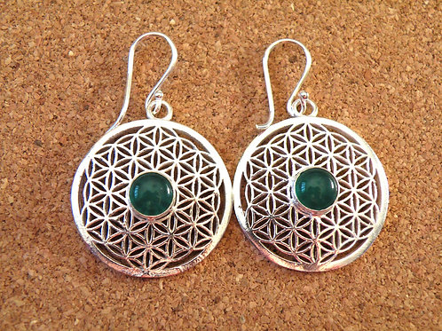 """Flower of life""silver polished Earrings +Green Onix"