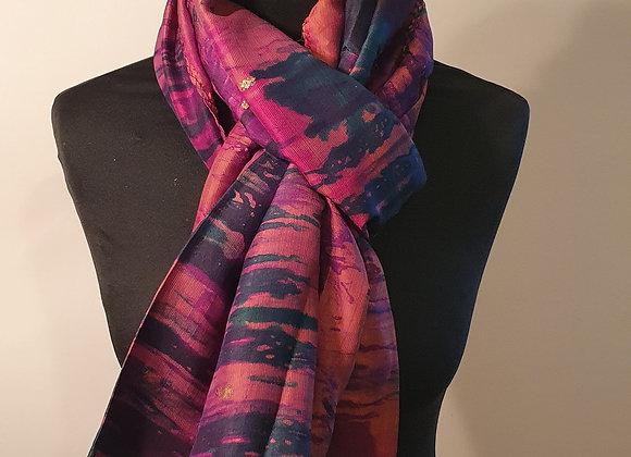 Large Raw Silk (Green, Pink)