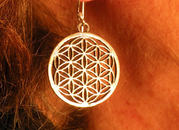 """Flower Of Life Earrings""(Silver Plated)"