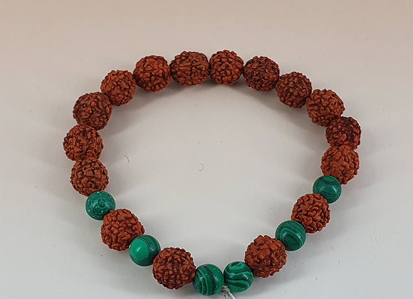 Healing Rudraksha Bead and Malachite Bracelet