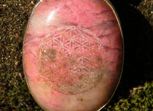 """Flower Of Life"" on Rhodonite St Silver"