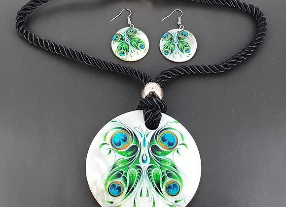 Handmade Peacock Decoupage Sea Shell Necklace