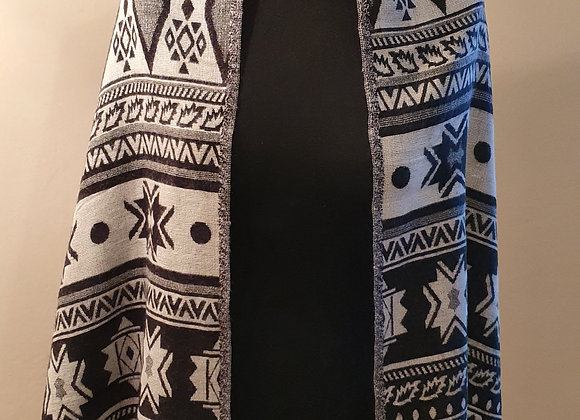 Double Sided Yak Woollen Stole,  (Black, White)