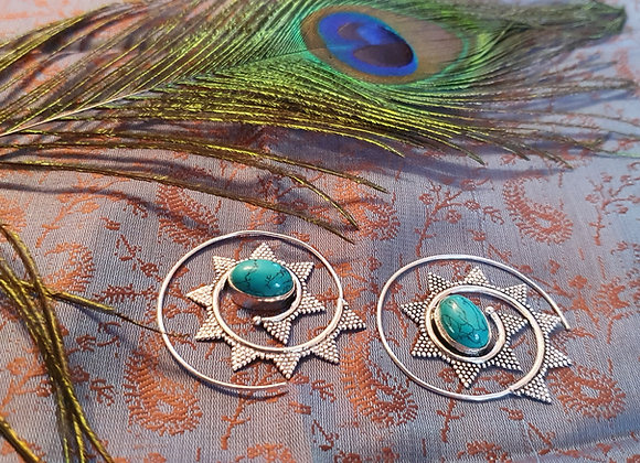 Spiral Earrings with Turquoise(Silver Plated)