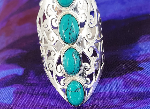 Statement Ring Silver Plated with Turquoise Gemstone