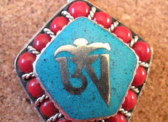 Tibetan Aum Turquoise Inlay and Cora Beadsl *Silver Plated*