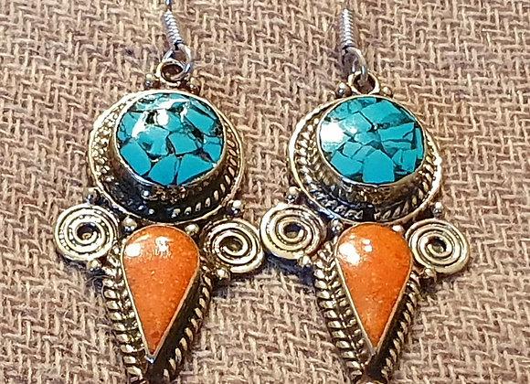 Tibetan Earrings (Silver Plated)