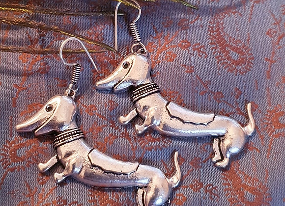 "Saussage Dog Earrings"" (Silver Plated)"