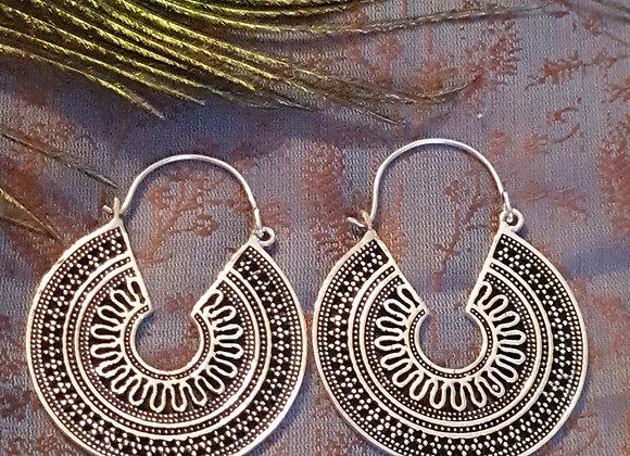 Mandala Earrings  (Silver Plated)