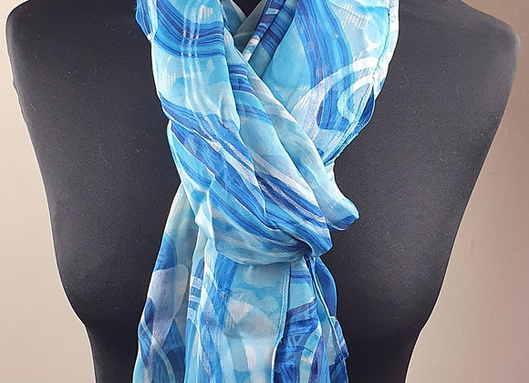 Fine Silk scarf (Blue)