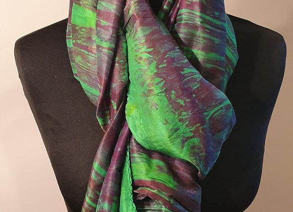 Large Raw Silk (Peridot Green & Purple)