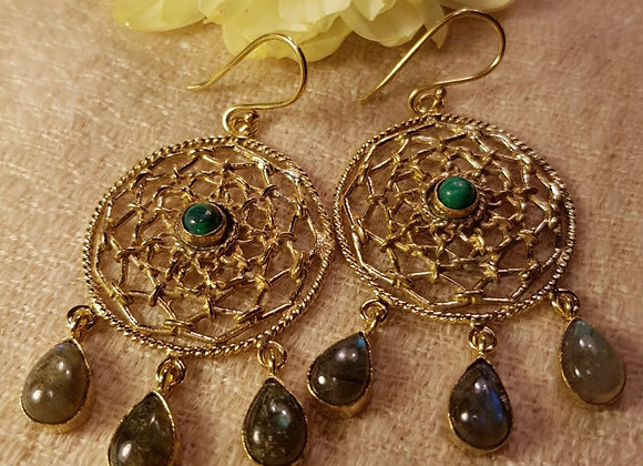 Dream Catcher Earring ( Malnchite and Labrodorite with Brass)#1