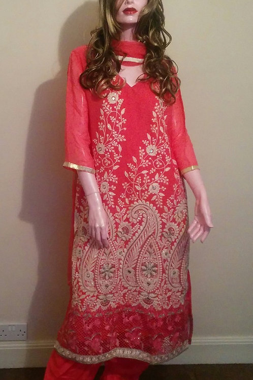 Georgette Hand Embriodered Asian Dress