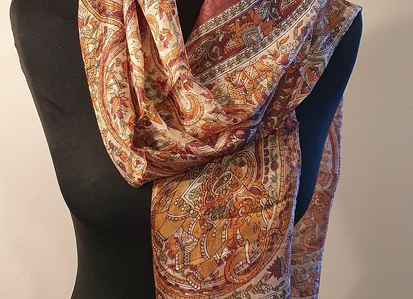 Fine Elephant Print Silk scarf (Brown)