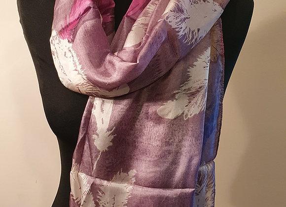 Fine Feather Print Silk Scarf (Mauve)