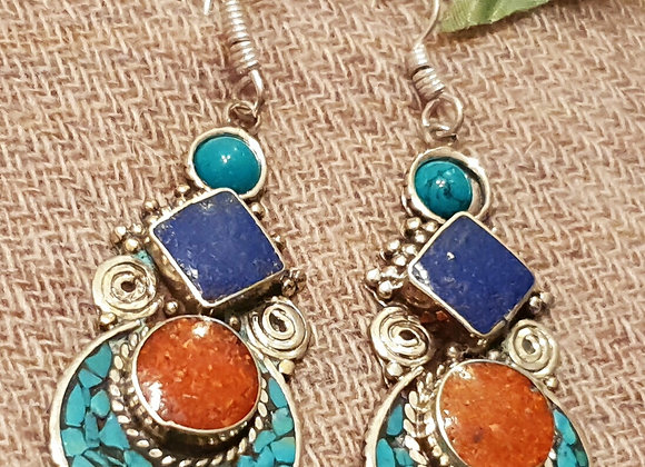 Tibetan Earrings (Silver Plated)