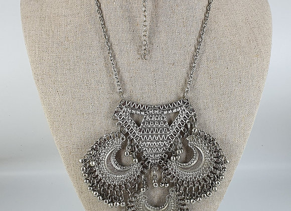 Silver Plated Antique finished Statement Necklace