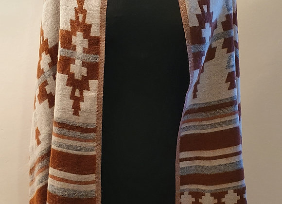 Large Double Sided Cosy Yak Woollen Shawl/Blanket (Brown ,White)