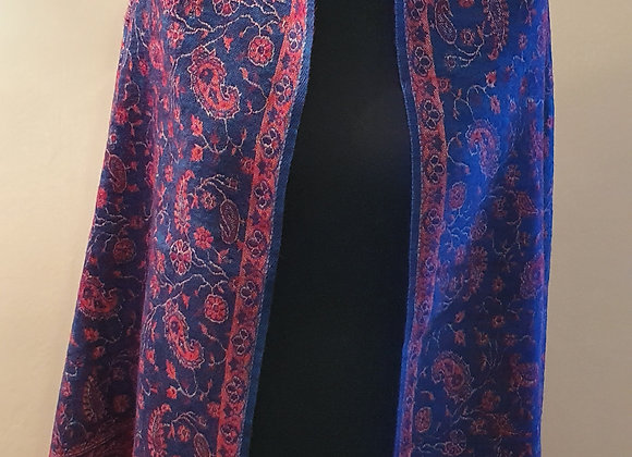 Large Double Sided Cosy Yak Woollen Shawl/Blanket (Blue, Red)