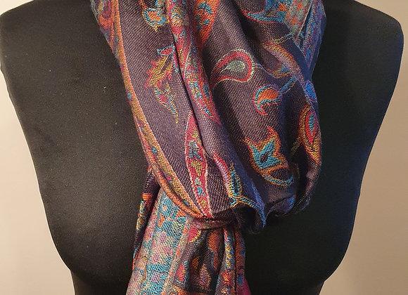 Multicoloured Designs In Black Pashmina
