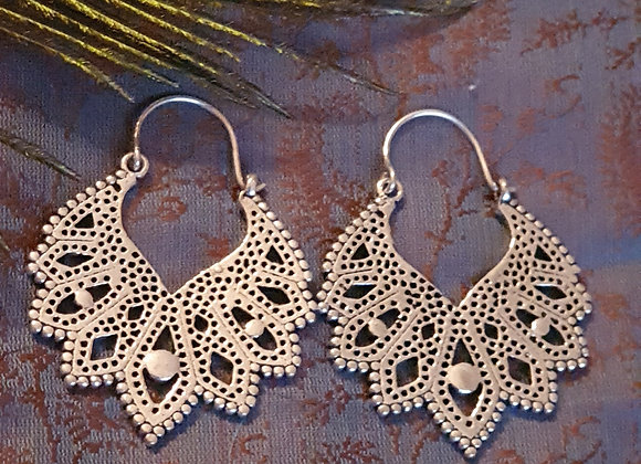 Large Leafy Hoops (Silver Plated)