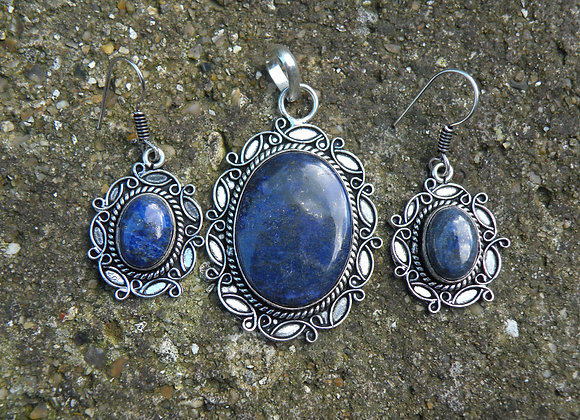Lapis earrings and Pendent set