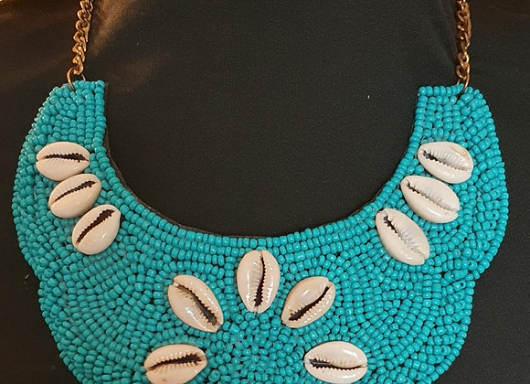 Turquoise hand beaded  Statement Necklace