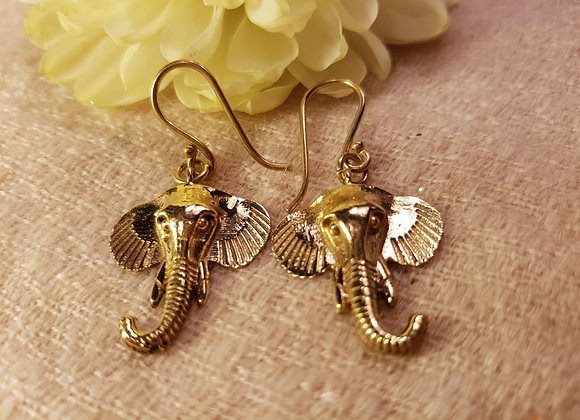 Elephant Earrings ( Brass )