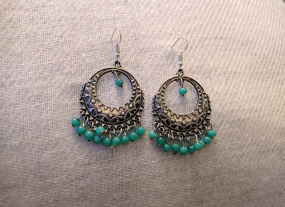 Colourful Bali's (Silver Plated)with Turquoise Beads
