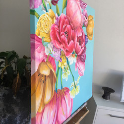 showing side of canvas