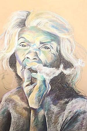 Mongolian woman smoking