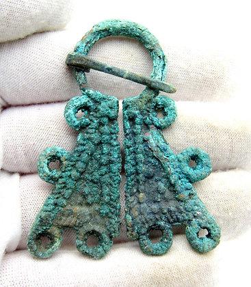 Medieval Viking Bronze Omega Brooch
