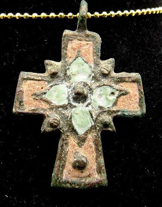 Medieval Enameled Bronze Cross
