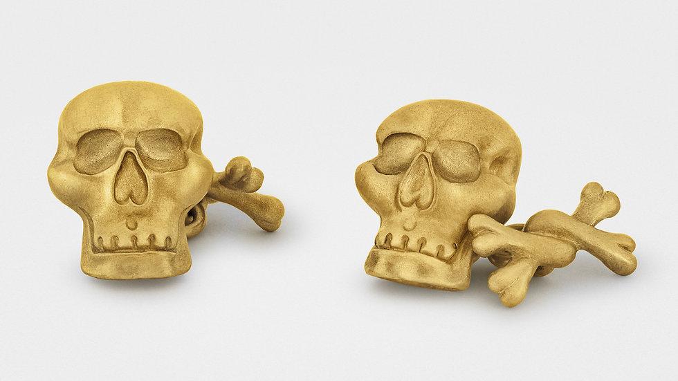 """""""Jolly Roger"""" Skull and Bones Cufflinks in 18K Gold"""