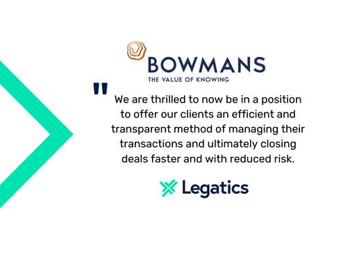 Press release: Bowmans chooses Legatics as its transaction management platform