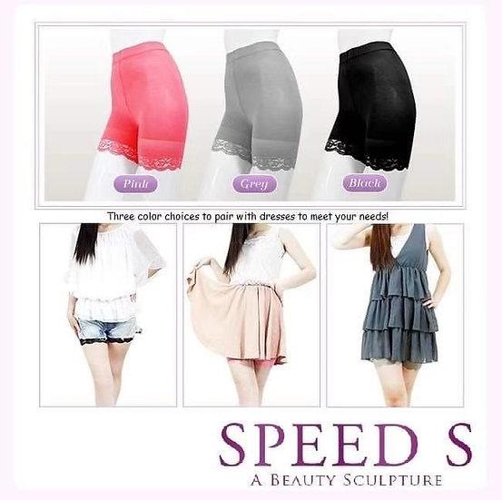 Speed S 速塑女人涼感紗平腹蕾絲機能五分褲(三色套装特惠)