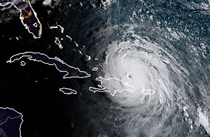 satilite photo of hurricane approaching florida