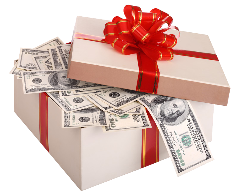 gift box with cash spilling out