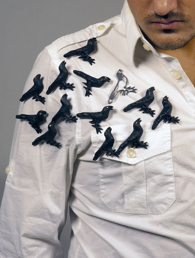 Crow brooches