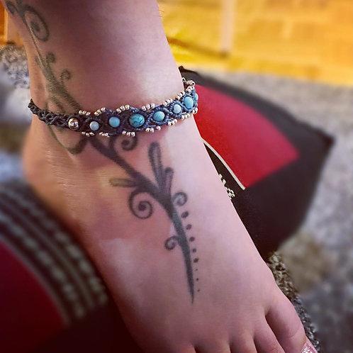 bracelet cheville turquoise