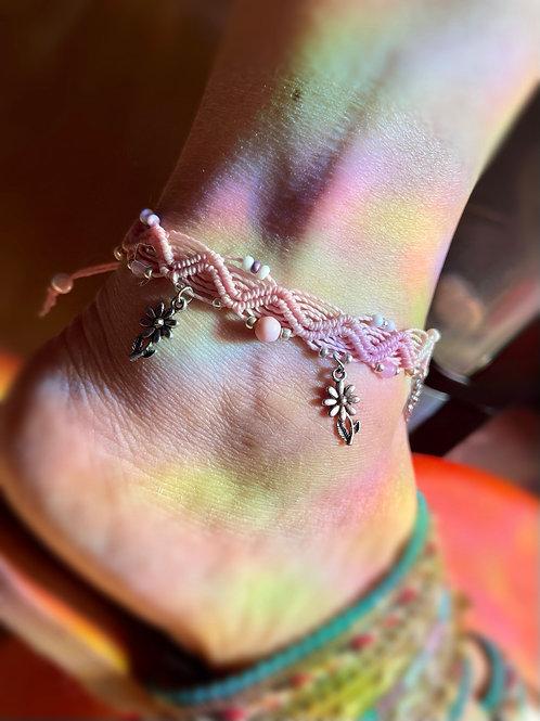 bracelet cheville réglable fleurs
