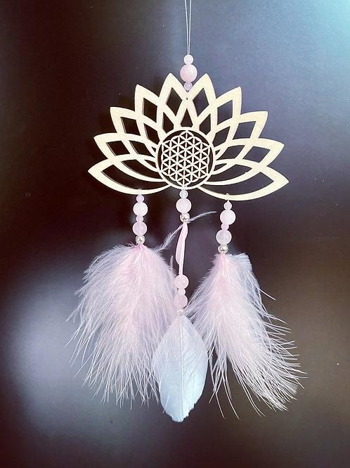 fleur de vie et de lotus perles quartz roses
