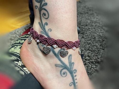 bracelet cheville réglable et coeur