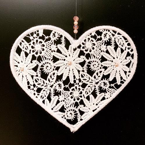 cœur en dentelle fleurs