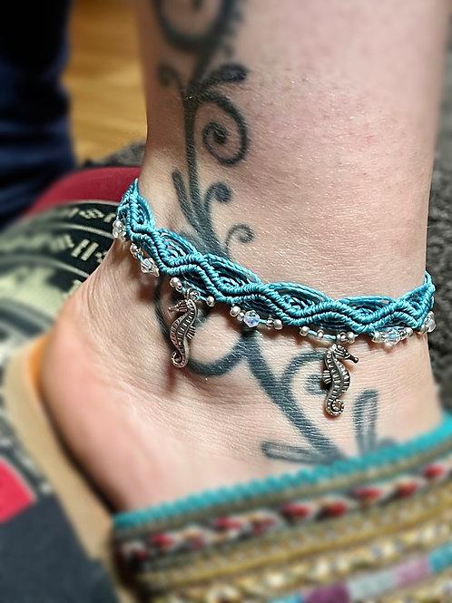 bracelet cheville réglable hippocampe