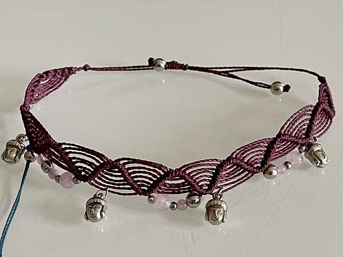 Bracelet cheville bouddha et quartz rose