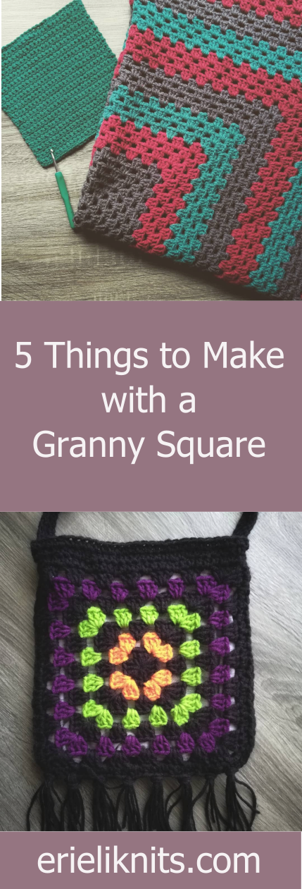 picture for pinterest. 5 Things to Make with a Granny Square. Includes previous photos from post.