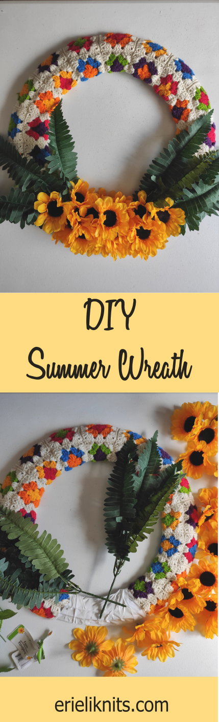 pin: DIY summer wreath. Photos of the wreath like the previous one.