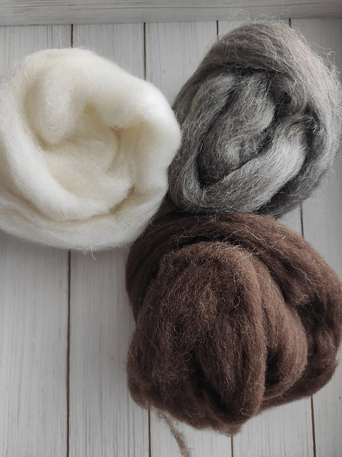three nests of the different fibers.